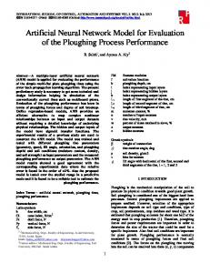 Artificial Neural Network Model for Evaluation of the Ploughing ...