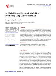 Artificial Neural Network Model for Predicting Lung Cancer Survival