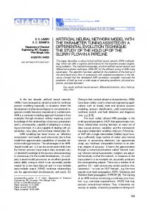 ARTIFICIAL NEURAL NETWORK MODEL WITH THE PARAMETER ...