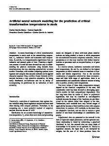 Artificial neural network modeling for the prediction of