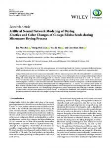 Artificial Neural Network Modeling of Drying Kinetics and Color ...
