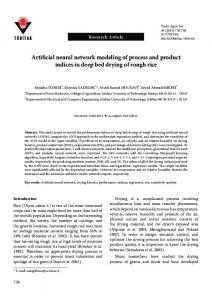 Artificial neural network modeling of process and ... - Semantic Scholar