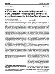 Artificial Neural Network Modelling for Prediction of