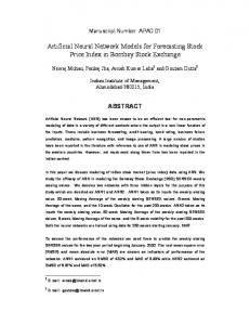 Artificial Neural Network Models for Forecasting Stock Price Index in ...
