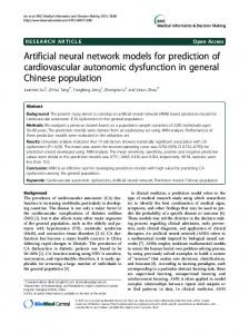 Artificial neural network models for prediction of ... - BioMedSearch