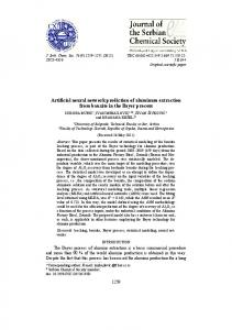 Artificial neural network prediction of aluminum extraction from bauxite ...