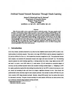 Artificial Neural Network Reduction Through Oracle