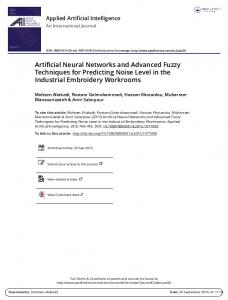 Artificial Neural Networks and Advanced Fuzzy ...