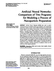 Artificial Neural Networks: Comparison of Two Programs for Modeling ...