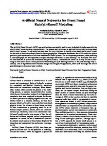 Artificial Neural Networks for Event Based Rainfall-Runoff Modeling