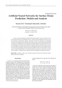 Artificial Neural Networks for Surface Ozone Prediction: Models and ...