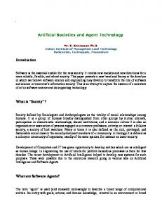 Artificial Societies and Agent Technology Introduction ...