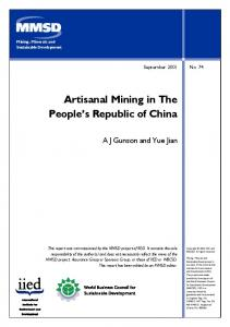 Artisanal Mining in the People's Republic of China - iied iied