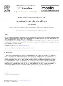 Arts education and educating with arts - ScienceDirect.com