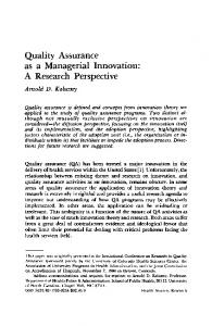 as a Managerial Innovation: A Research Perspective - NCBI