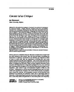 as Critique - SAGE Journals - Sage Publications