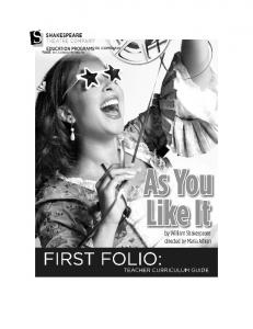 As You Like It First Folio
