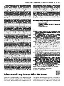 Asbestos and Lung Cancer: What We Know - ATS Journals