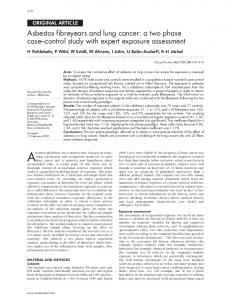Asbestos fibreyears and lung cancer: a two ... - PubMed Central Canada