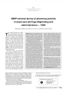 ASHP national survey of pharmacy practice in acute care settings