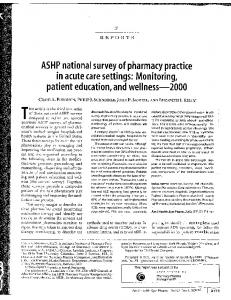 ASHP national survey of pharmacy practice in ... - SafetyLeaders.org