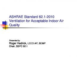 ASHRAE STANDARD Ventilation for Acceptable Indoor Air