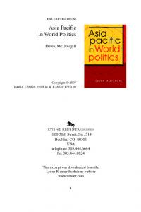 Asia Pacific in World Politics - East Asia Study Center