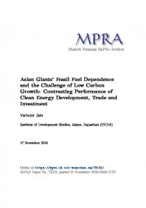 Asian Giants' Fossil Fuel Dependence and the Challenge of Low ...