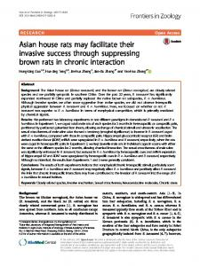 Asian house rats may facilitate their invasive ... - Frontiers in Zoology