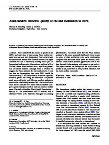 Asian medical students: quality of life and motivation to learn ...