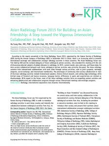 Asian Radiology Forum 2015 for Building an Asian Friendship ...