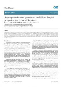 Asparaginase-induced pancreatitis in children: Surgical ... - OAText
