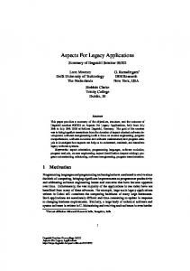 Aspects For Legacy Applications - DROPS - Schloss Dagstuhl