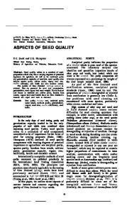 Aspects of seed quality - NZ Grassland Association