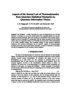 Aspects of the Second Law of Thermodynamics from Quantum
