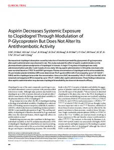 Aspirin Decreases Systemic Exposure to Clopidogrel Through ...