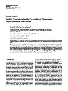 Aspirin Prophylaxis for the Prevention of Thrombosis: Expectations ...