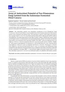 Assay of Antioxidant Potential of Two Filamentous Fungi Isolated from ...
