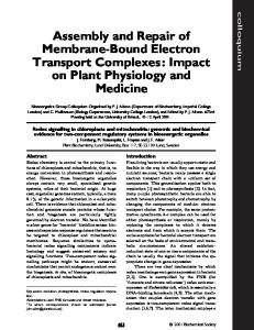 Assembly and Repair of Membrane-Bound Electron Transport ...