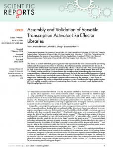 Assembly and Validation of Versatile Transcription