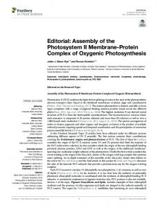 Assembly of the Photosystem II Membrane-Protein