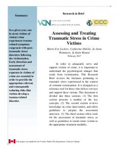 Assessing and Treating Traumatic Stress in Crime Victims - Centre ...