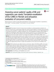 Assessing cancer patients' quality of life and