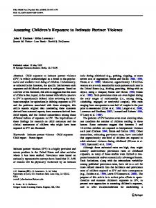 Assessing Children's Exposure to Intimate Partner Violence ...