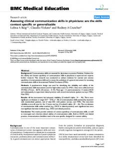 Assessing clinical communication skills in physicians: are the skills