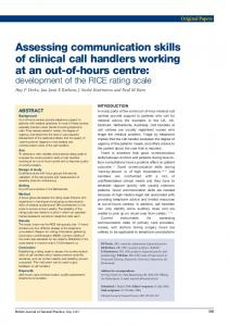 Assessing communication skills of clinical call handlers working at an ...
