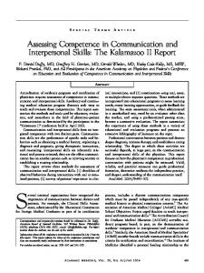 Assessing Competence in Communication and Interpersonal Skills ...