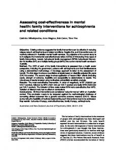Assessing cost-effectiveness in mental health: family interventions for ...