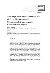 Assessing Cross-Cultural Validity of Fear of Crime ... - SAGE Journals