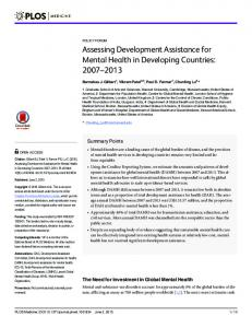 Assessing Development Assistance for Mental Health in ... - PLOS